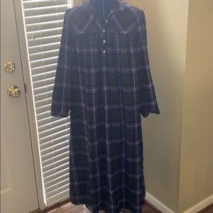 NEW LL Bean 'purple plaid' flannel nightgown.